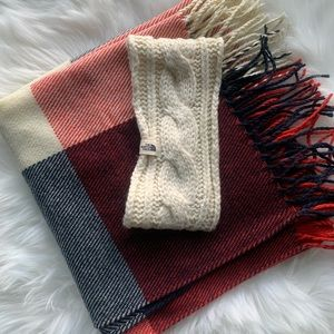Cream North Face Cable Knit Headband & RWB Scarf
